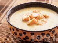 Картофена крем супа със сьомга и течна сметана